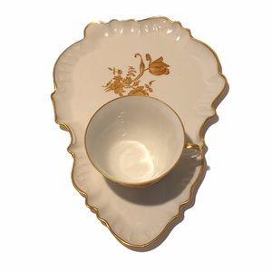 Limoges France floral gold accent lunch/tea set.